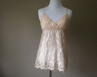 S / Hanky Panky Babydoll Nightie Lingerie Negligee / Sheer Lace Lacy / Small / Made in USA