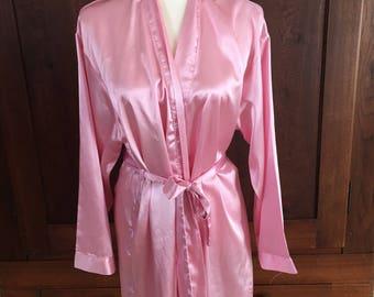 M /Pink Satin Robe/ Medium