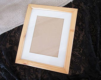 Wooden picture frame photo frame oak finish gold trim vintage 70s cottage syle.