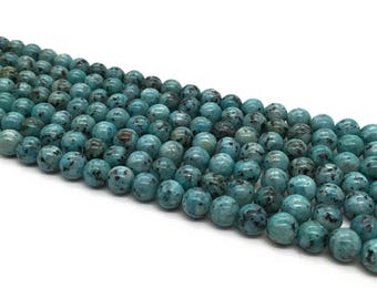 1Full Strand 8mm Blue Turquoise Round Beads , Howlite Turquoise Gemstone For Jewelry Making
