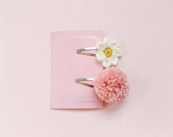 Flower Hair Clip | Childrens Hair Clips | Flower Hair Accessories | Hair Accessory | Pom Pom
