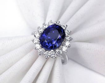 3.8 ct Wedding ring blue sapphire ring silver sterling 925