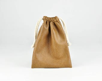 Soft PU Leather Drawstring Bag, Small String Pouch, Jewelry Bag, Storage Bag, Gift Bags, Brown