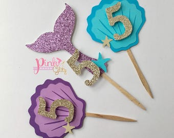Mermaid Cupcake Toppers, Mermaid Tail Toppers, Mermaid Birthday, Sea Shells,  Under The Sea Cupcake Toppers, Mermaid Party