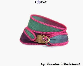 Green and Fuchsia Silk Ribbon Bracelet