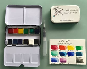 Watercolor handmade travel paint palette tin - 12 half pans WISP kit - Free Tin and Waterbrush included