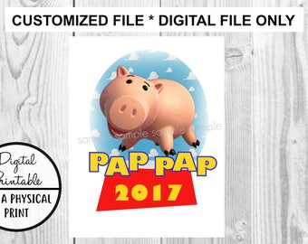 Toy Story Birthday Printable Iron On Transfer - DIY shirt tshirt - Porkchop Pig Piggy printable - personalized Customized Birthday Boy Girl