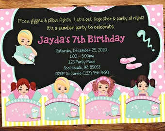 Sleepover Slumber Chalkboard Party Invitation - Pizza Birthday Party Invitation - Birthday Party Invite - Digital - Personalized Customized