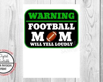 Football Mom Birthday Iron On Shirt Transfer, Sports tshirt or clip art poster sign printable, Instant Download, warning baseball mom