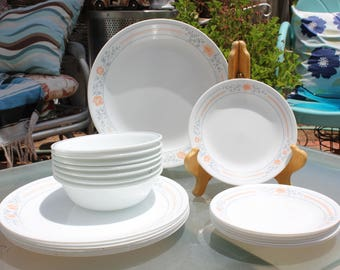 "1997 Vintage Corelle  ""Apricot Grove"" 21 Piece Set - 7 Dinner Plates, 7 Bread and Butters, 7 Cereal Bowls - Good to Excellent Condition"