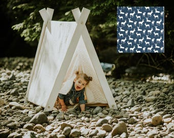 Play A-Frame Tent Teepee Dark Blue White Woodland Deer Rustic Distressed