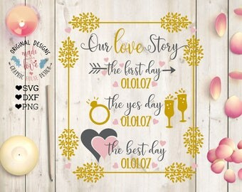 Our Love Story svg, Our Lovestory Custom Cut File in SVG, DXF, PNG, Customizable wedding svg, Wedding svg file, marriage svg file, Best days