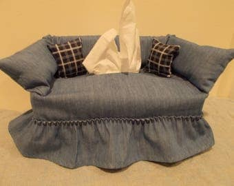 Homestead Denim couch tissue box cover.