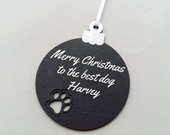 Personalised pet bauble, baubles personalised dog, pet tree decoration, Christmas decoration for pets, chalkboard effect bauble