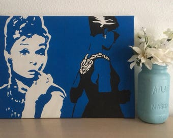 Audrey Hepburn in Silhouette (handmade on canvas)