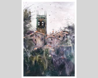 Fine Art Print of My Great Malvern Watercolour Painting Signed City scape Scene Urban Giclee High Quality Vibrant Impressionist Landscape