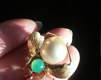 Victorian 14k Gold Jade Mabe Pearl Fly Bug Bee Brooch