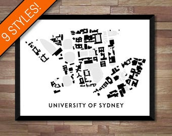 University of Sydney map art   Printable Sydney map print, Sydney print, Sydney graduation gift, Australia graduation gift, Campus map gift