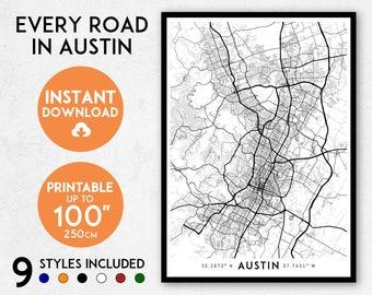 Austin map print, Printable Austin map art, Austin print, Texas map, Austin art, Austin poster, Austin wall art, Austin gift, Map of Austin