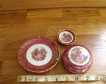 Limoges Porcelaine and 1 other, La reine 22 k gold gilding