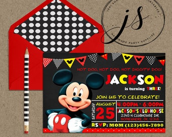 Mickey Mouse Birthday Party Invitation; Printable Invitation; Mickey Mouse Invitation; Red Yellow & White; Digital; Printable Invitation