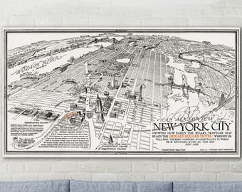 New York Skyline, New York Map, New York City Map, New York Wall Art, New York Poster, New York Map Print, New York Skyline Art, 257