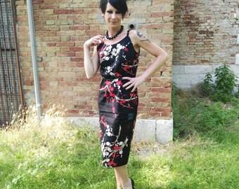 Sheath Style pin-up oriental pattern dress, vintage style dress, pin up dress, Rockabilly dress