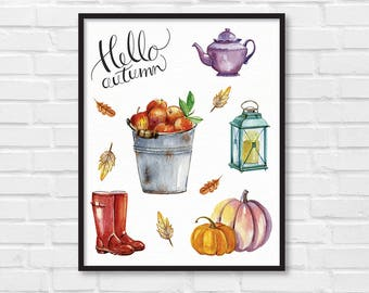 Hello Autumn / Autumn Art Print / Fall Print / Autumn Poster / Autumn Fall Illustration / DIY / Instant Download Print / Wall Art / [06]