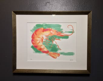Signed & Numbered Print of a Shrimp by Artist West Sanders