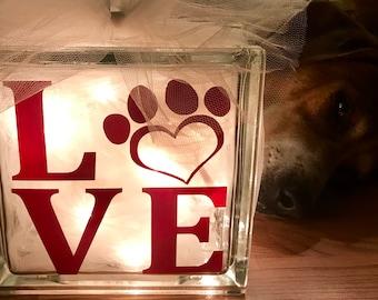 Puppy Love - Large Glass Block Light