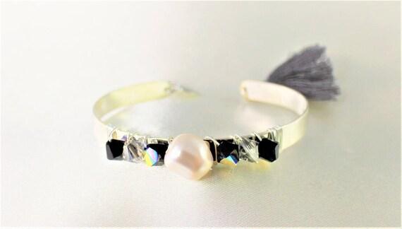 swarovski black and white wedding Bangle Bracelet silver plated