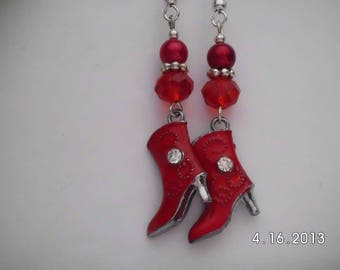 Red western boot earrings.