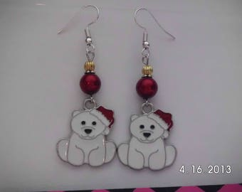 Holiday bear earrings