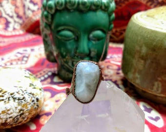 Moonstone Ring with Braided Copper Band