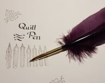 Burgundy Feather Quill Pen Wiccan Witch Or Wizard Spell Book