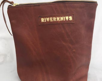 "Large shawl project bag, handmade, British leather, for knitting and crochet projects - 10"" W x 9.5"" H (25cm W x 24cm H)"
