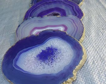 Purple agate crystal coasters with gold gilded edges - set of 4