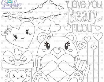 75%OFF - Valentine Stamps, Valentine's Day Stamps, COMMERCIAL USE, Bear Stamps, I Love You Beary Much, Bear Clipart, Planner Stamp, Clip Art