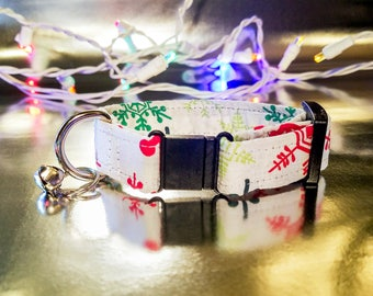 Cute Colorful Snowflakes on White Cat Collar - Holiday/Winter/Christmas Collection