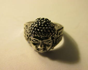 Tibet Silver Buddha Finger Ring, Size 8.5