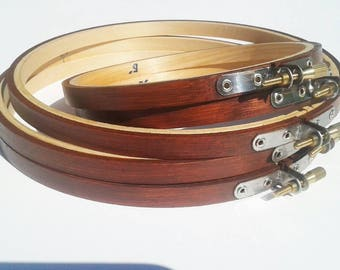 3 or 4 Inch- American Walnut Hand Stained Wooden Embroidery Hoops- Unique Hoops!