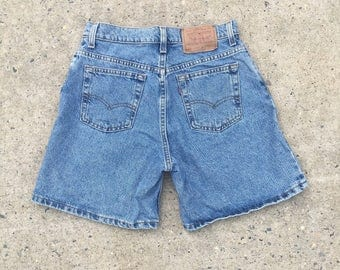 Vintage 80s 90s Levi's 550 Denim High Waist High Rise Shorts - Size 11 Relaxed Fit - Made In USA