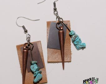 Leather / Brass / Copper / Turquoise Layered Handmade Earring