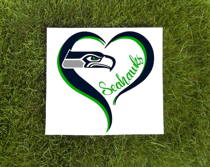 Seattle Seahawks Double Heart Vinyl Decal-Love Vinyl Decal-Car Decal-Tumbler Vinyl Decal