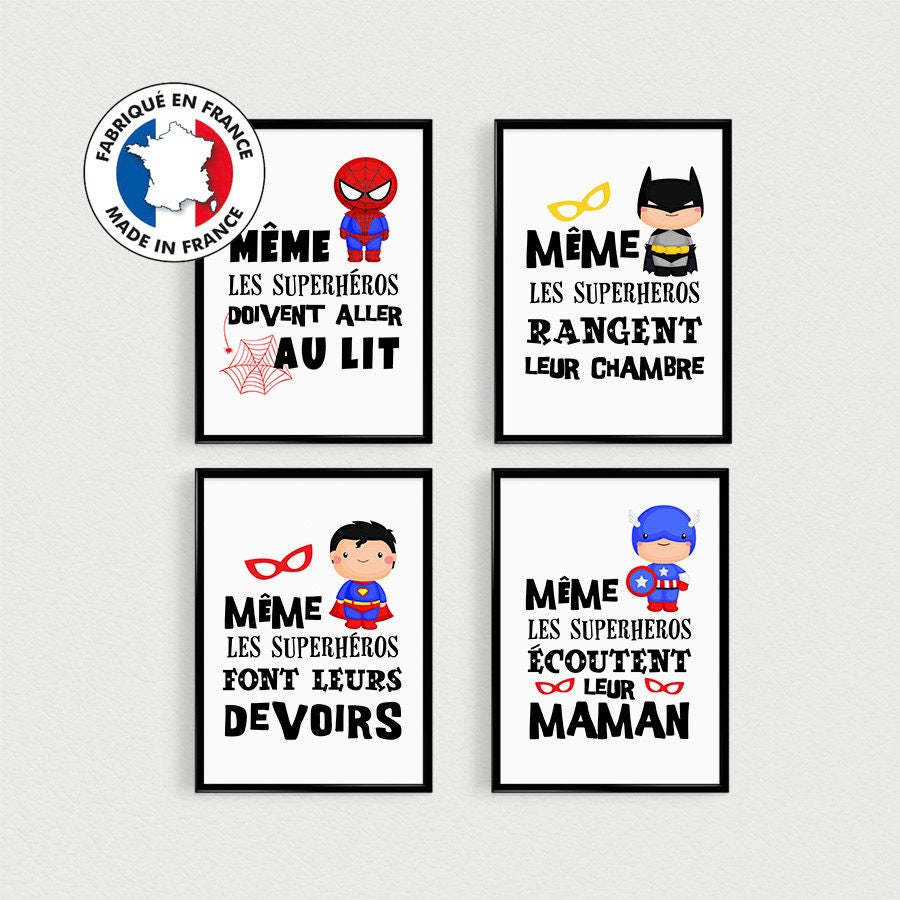 Célèbre PROMO : Lot de 4 Posters citations Super Héros pour enfant à OL47