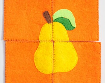 Felt puzzle, Educational toy, Handmade toy, Educational puzzle, Gift for kids, Preschool learning, Puzzle for kids, Puzzle with pear