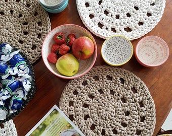 Modern Beige Ecrue Round Placemat Round Table Mat Doily Round Throw Doilies Round Napkins Handmade Placemat Cotton Placemat  Napkin
