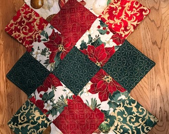 Christmas quilted table runner, red and green with touches of gold, table topper, pontsettias, holly and ornaments