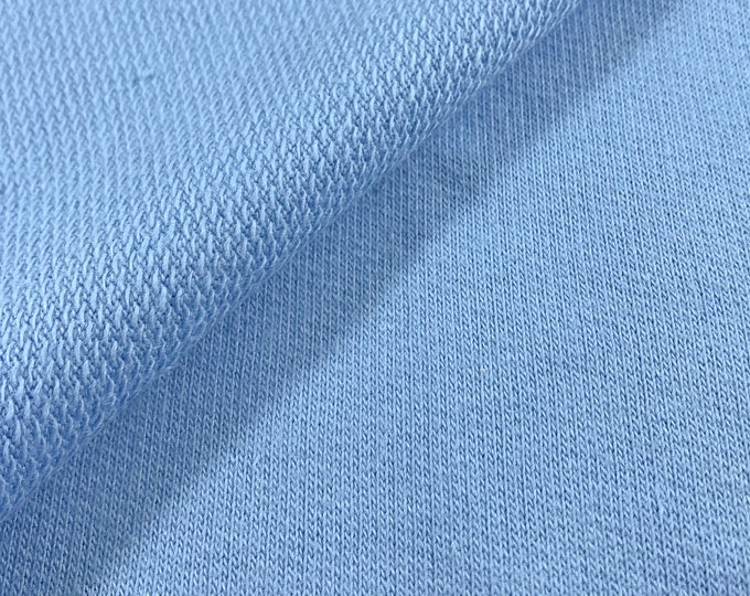 Cotton French Terry Knit Fabric (Wholesale Price Available By the Bolt) USA Made Premium Quality - 5525R VINTAGE BLUE- 1 Yard
