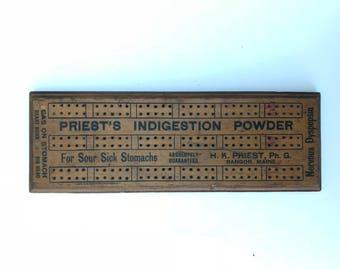 Vintage Cribbage Board,Priest's Indigestion Powder, Bangor Maine